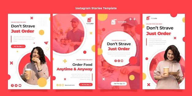 Histoires instagram de livraison de nourriture au design plat