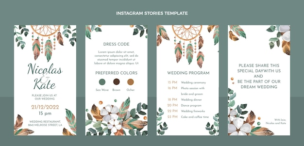 Histoires instagram de mariage boho aquarelle