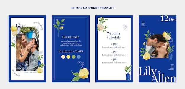 Histoires instagram de mariage dessinées à la main à l'aquarelle
