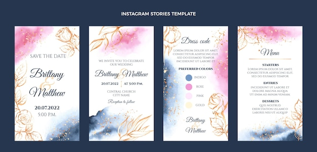 Histoires instagram de mariage dessinées à la main
