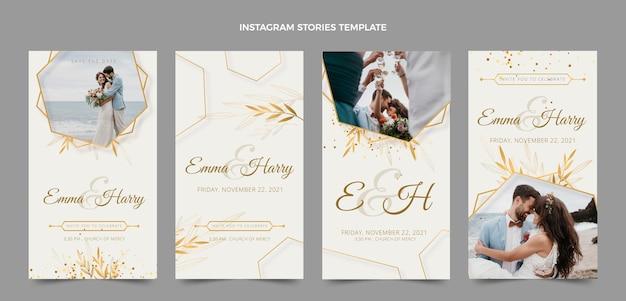 Histoires instagram de mariage de luxe réalistes