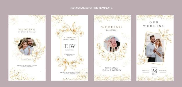 Histoires instagram de mariage d'or de luxe réalistes
