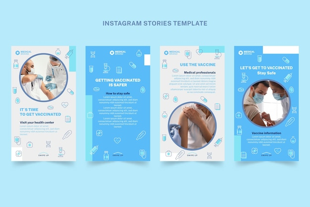 Histoires Instagram Médicales Plates Vecteur gratuit