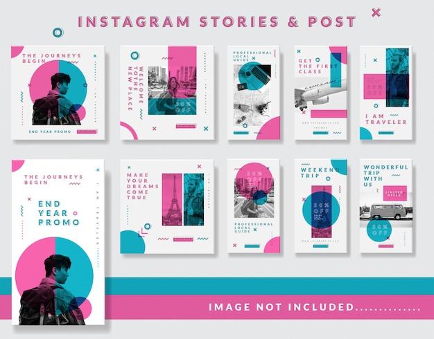 Histoires instagram minimalistes et ensemble de modèles de publication