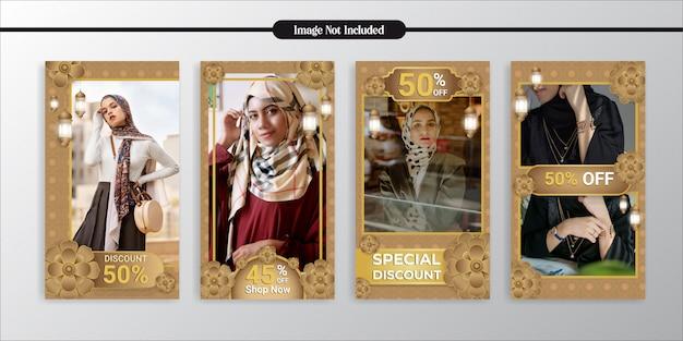 Histoires d'instagram de mode d'or exclusives de médias sociaux et modèle de poste