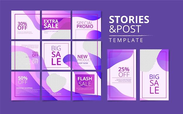 Histoires instagram et modèle de collection de publications