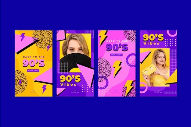 Histoires instagram nostalgiques des années 90 dessinées à la main avec photo