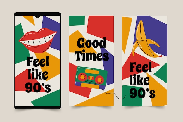 Histoires instagram nostalgiques des années 90 dessinées à la main