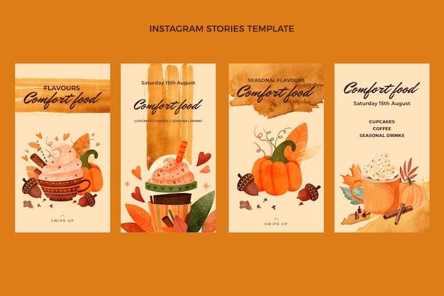 Histoires d'instagram de nourriture à l'aquarelle