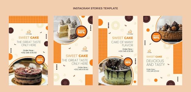 Histoires d'instagram de nourriture de conception plate