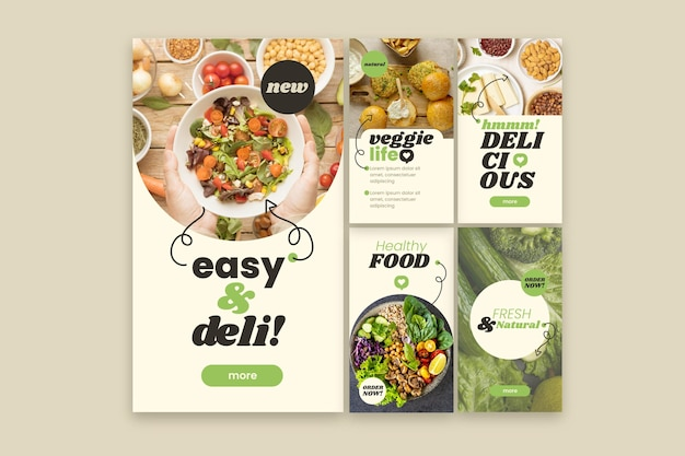 Histoires instagram de nourriture végétarienne au design plat