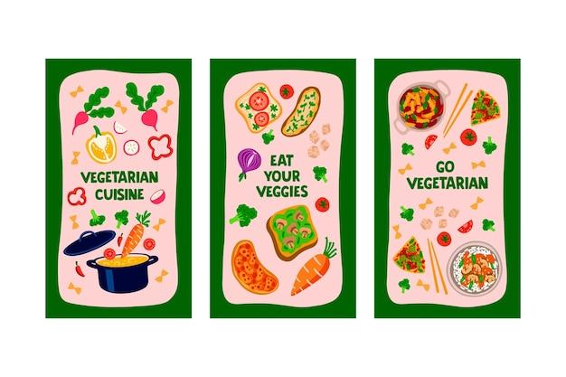 Histoires instagram de nourriture végétarienne dessinées à la main