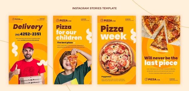 Histoires instagram de pizza design plat