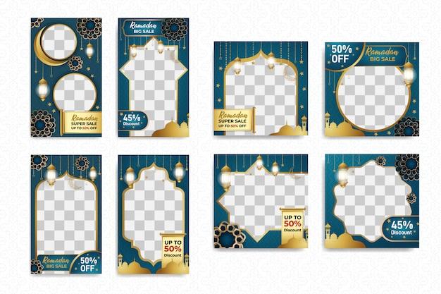 Histoires instagram et poteau carré sertis d'un dessin islamique de ramadan mubarak
