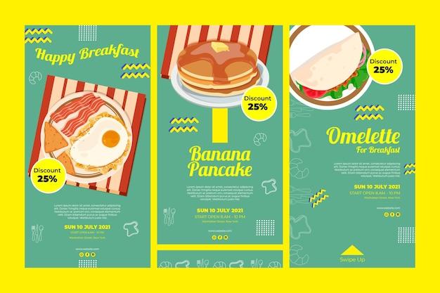 Histoires instagram de restaurant de petit déjeuner