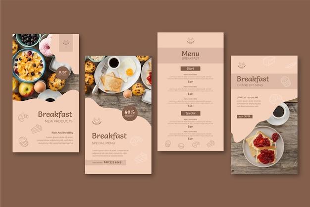 Histoires instagram de restaurant de petit-déjeuner