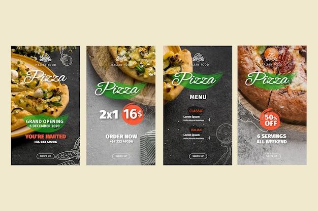 Histoires instagram de restaurants de pizza