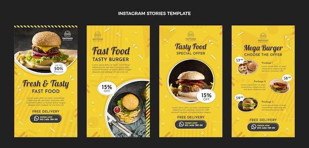 Histoires instagram de restauration rapide au design plat