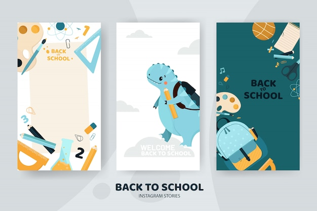 Histoires instagram de retour à l'école avec un dinosaure mignon et des fournitures scolaires