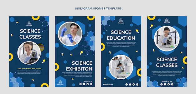 Histoires instagram de science du design plat