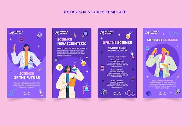 Histoires instagram scientifiques de style plat