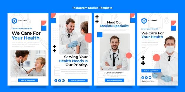Histoires instagram de soins médicaux de conception plate