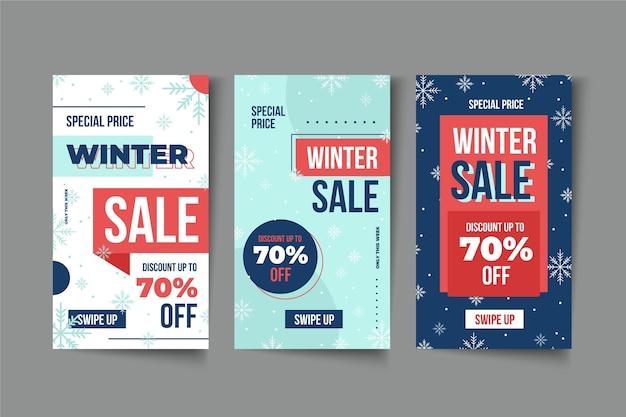 Histoires instagram de soldes d'hiver