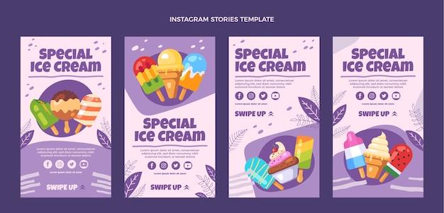 Histoires instagram spéciales de crème glacée de conception plate