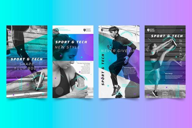 Histoires instagram sur le sport et la technologie