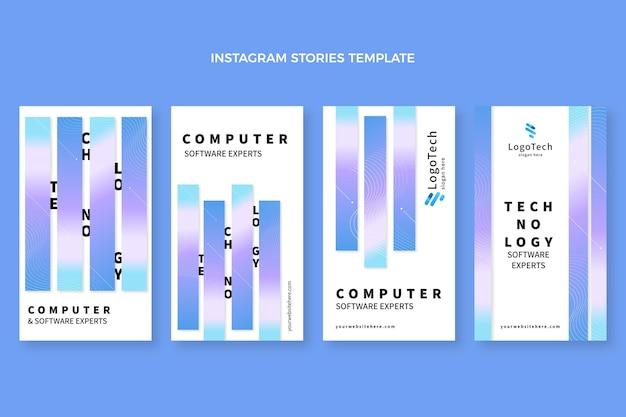 Histoires instagram de technologie abstraite dégradée