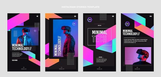 Histoires instagram de technologie minimale de conception plate