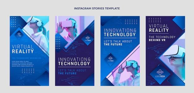 Histoires instagram de technologie de texture dégradée