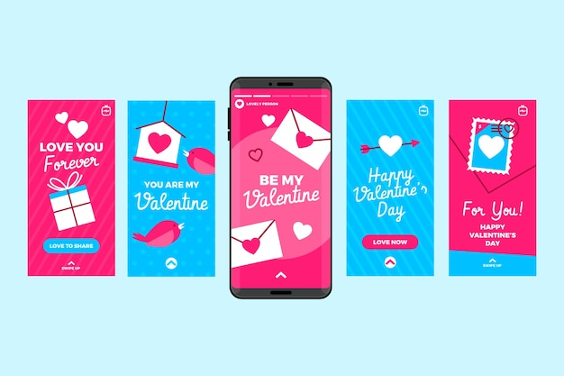 Histoires instagram de téléphone portable pour la saint-valentin