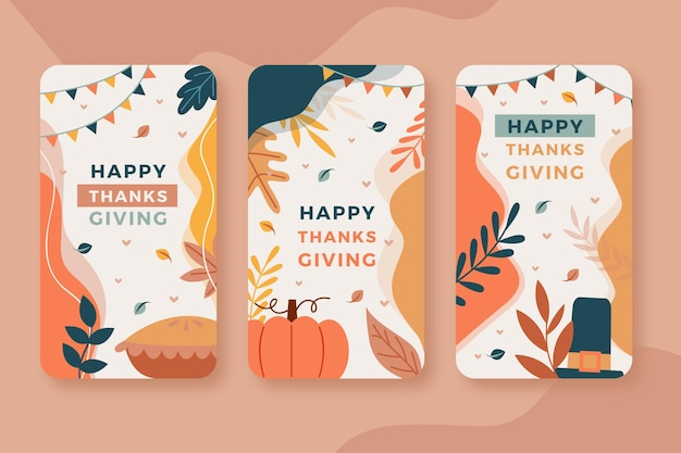 Histoires instagram de thanksgiving au design plat
