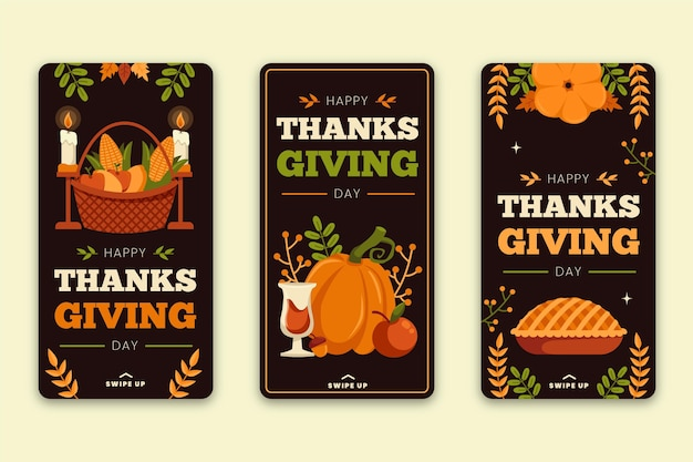 Histoires instagram de thanksgiving design plat