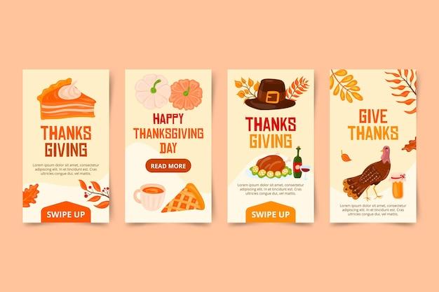 Histoires instagram de thanksgiving dessinées à la main