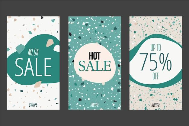 Histoires instagram avec thème de vente en terrazzo et style de dessin