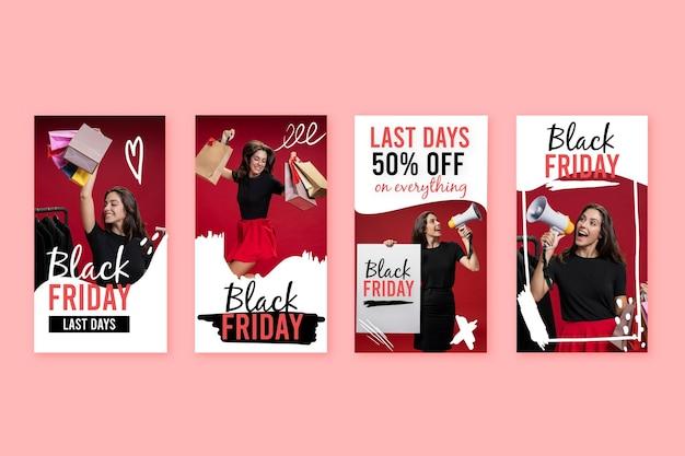 Histoires instagram de vendredi noir dessinées à la main
