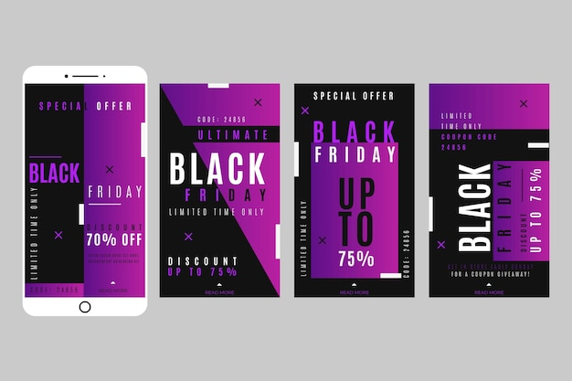 Histoires instagram de vendredi noir plat