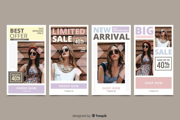 Histoires instagram vente abstraite colorée avec image