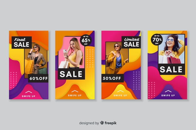 Histoires instagram vente abstraite colorée avec photo