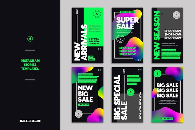 Histoires instagram de vente d'acide