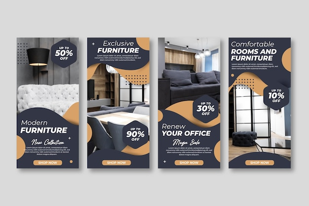 Histoires instagram de vente de meubles avec photo