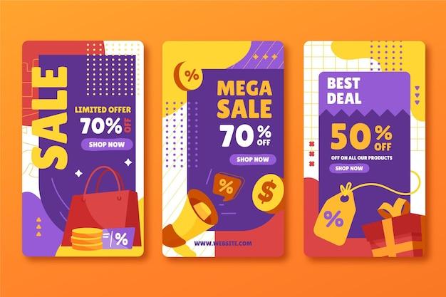 Histoires instagram de vente à plat dessinées à la main