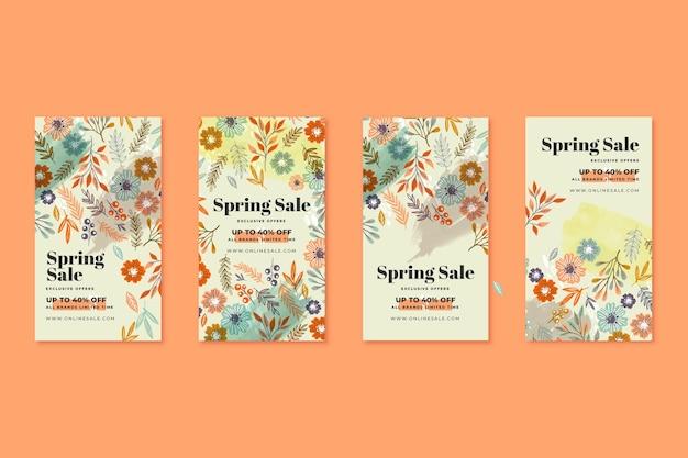 Histoires instagram de vente de printemps dessinés à la main