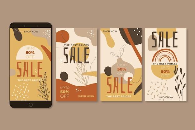 Histoires instagram de ventes spéciales avec des ornements de la nature