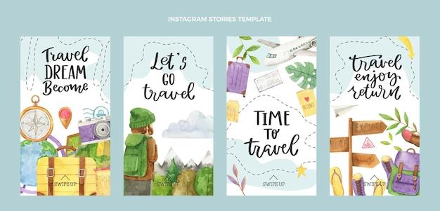 Histoires d'instagram de voyage à l'aquarelle