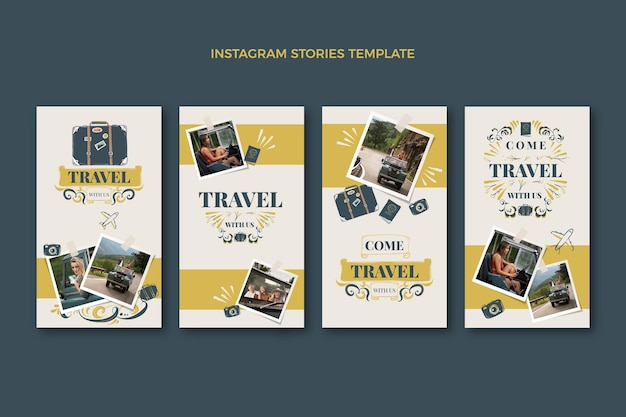 Histoires instagram de voyage dessinées à la main