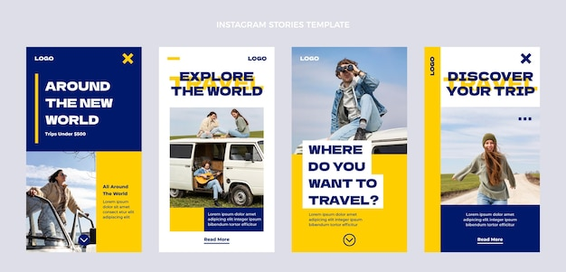Histoires instagram de voyage plat