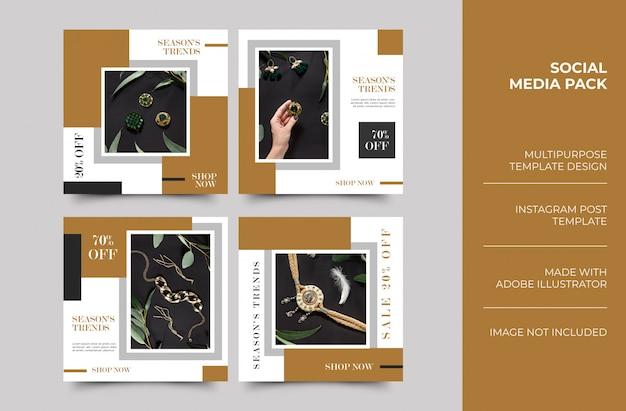 Histoires jewellary instagram et conception de modèle post minimaliste de flux